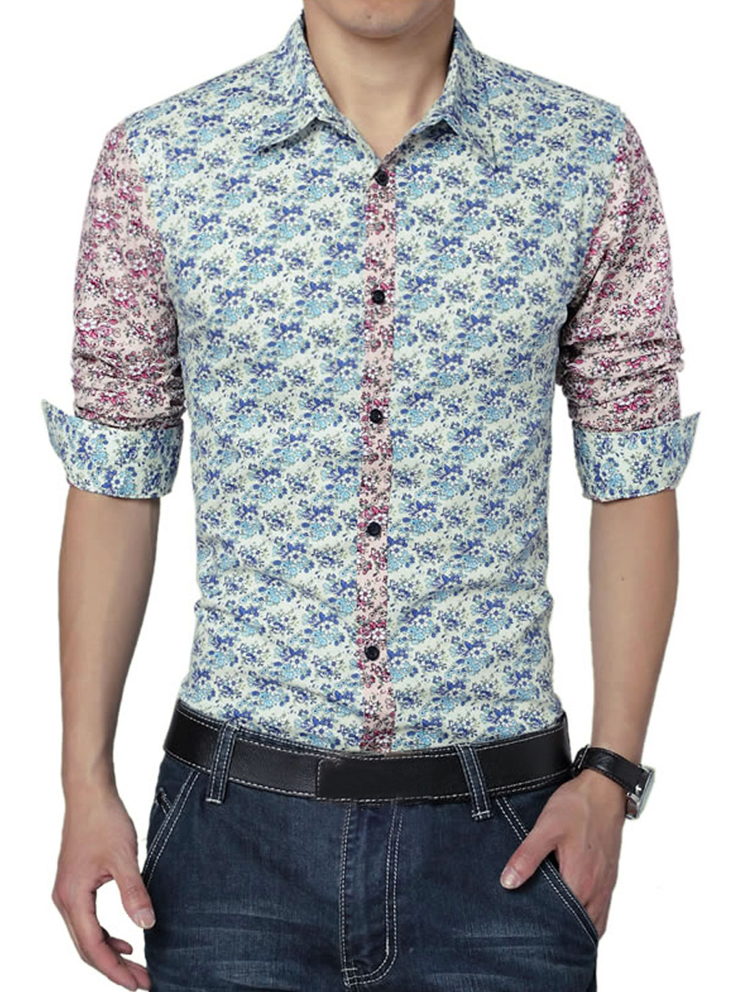 Men Long Sleeve Floral Prints Button Front Colorblock Shirt Sea Blue M