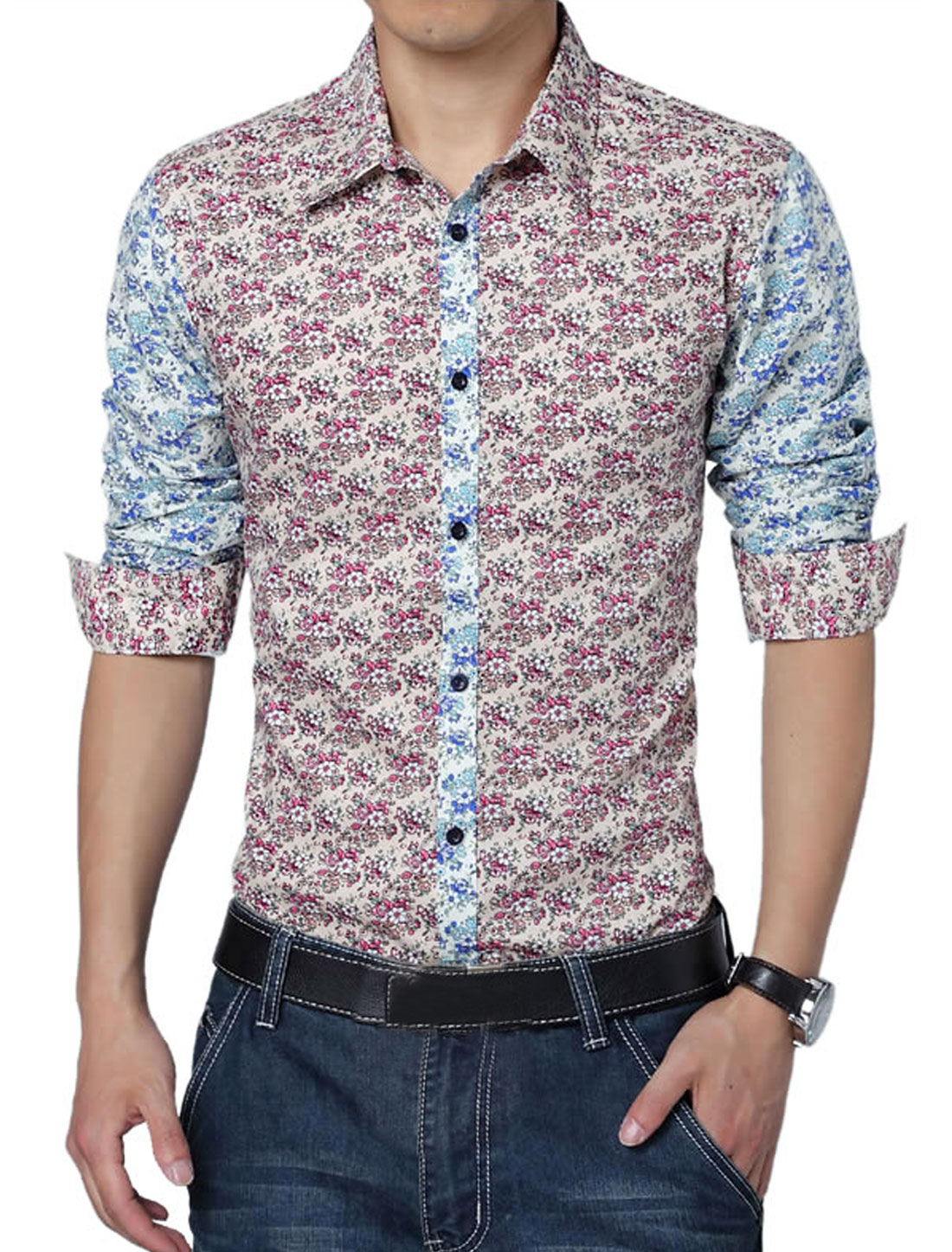 Men Long Sleeve Floral Prints Panel Design Colorblock Shirt Fuchsia L