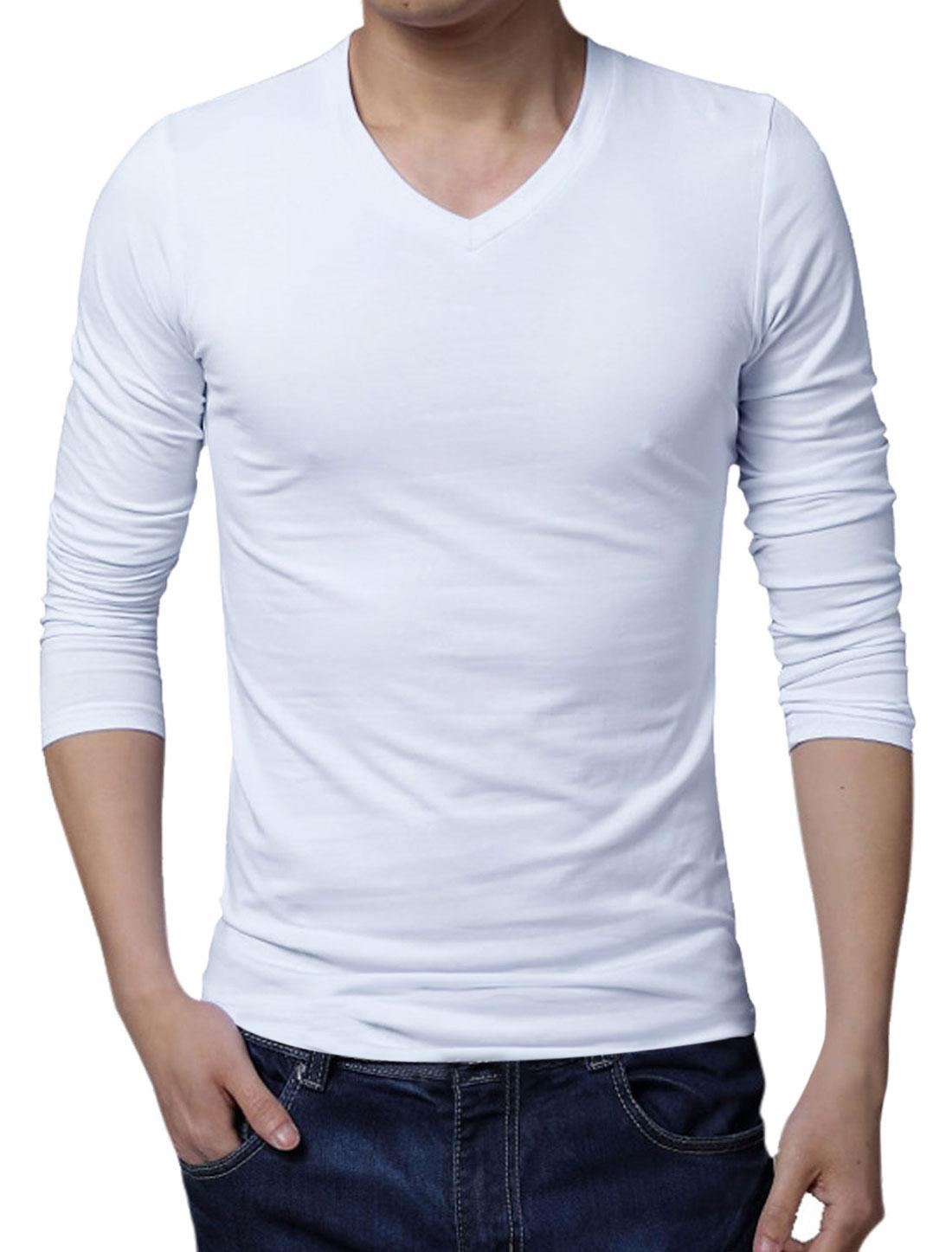 Men V Neck Pullover Long Sleeve Slim Fit Elastic Tee White L
