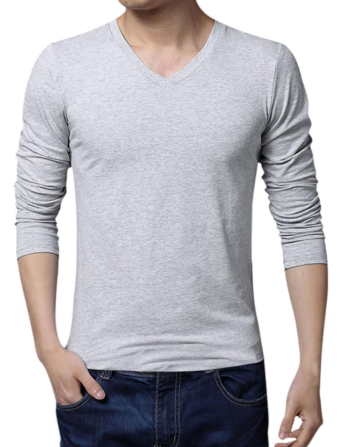 Men Stretchy V Neck Long Sleeve Slim Fit T-Shirt Light Gray L