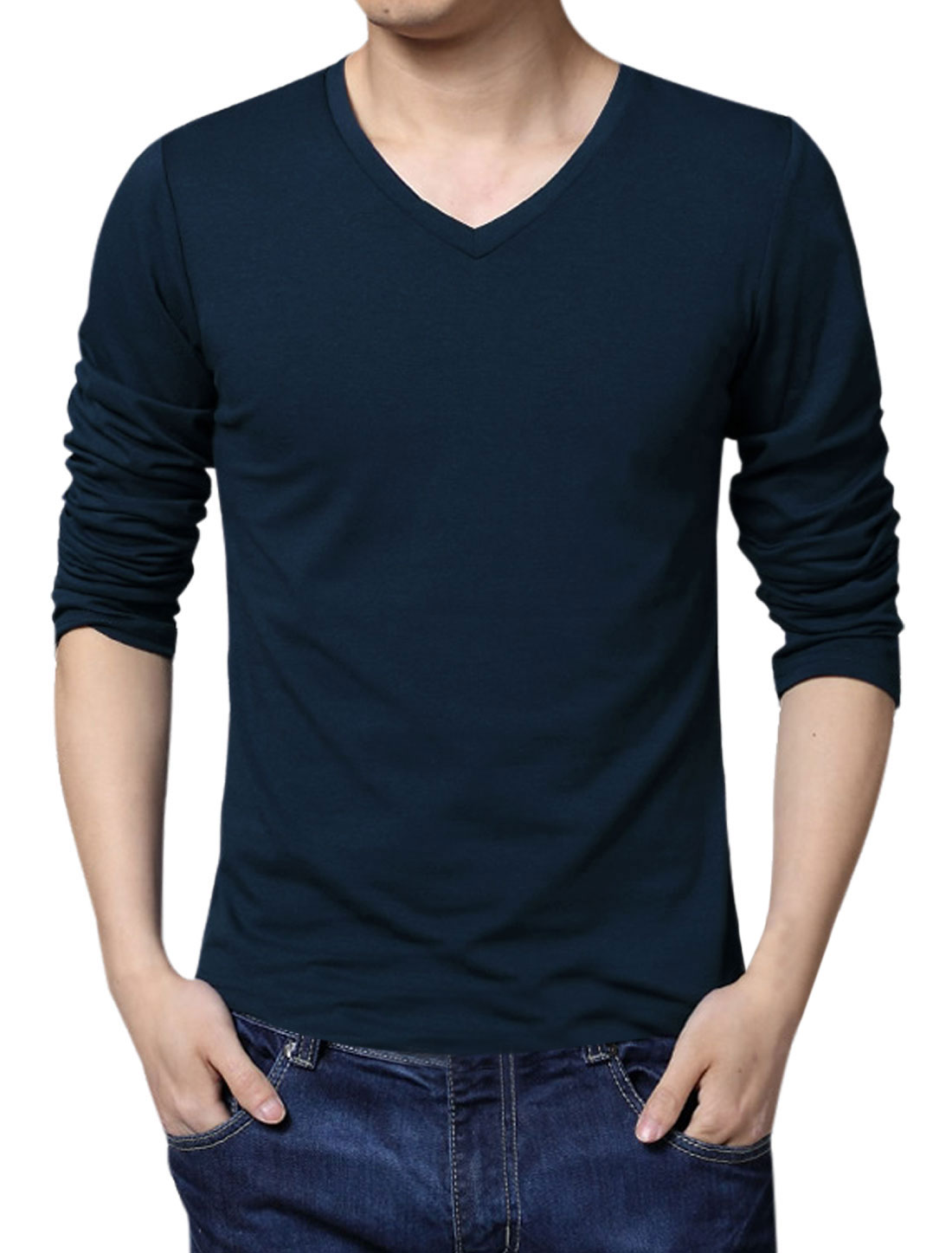 Men Simple V Neck Long Sleeve Slim Fit Tee Navy Blue L