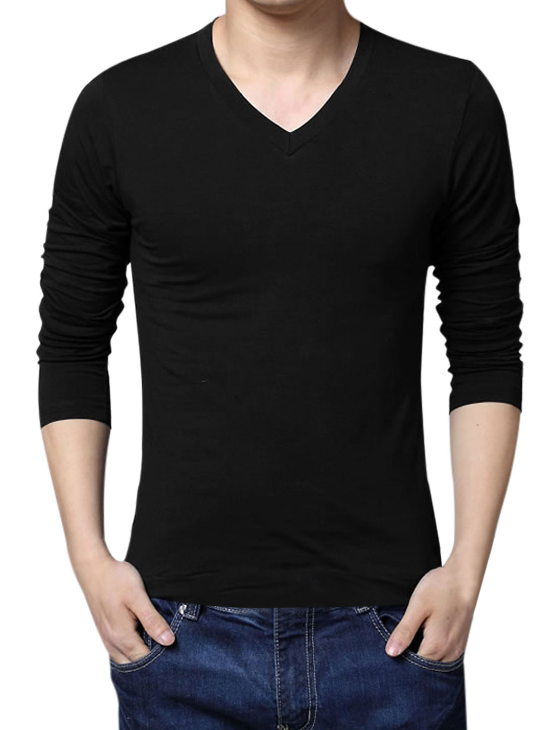 Men V Neck Long Sleeve Slim Fit Soft Tee Black XL