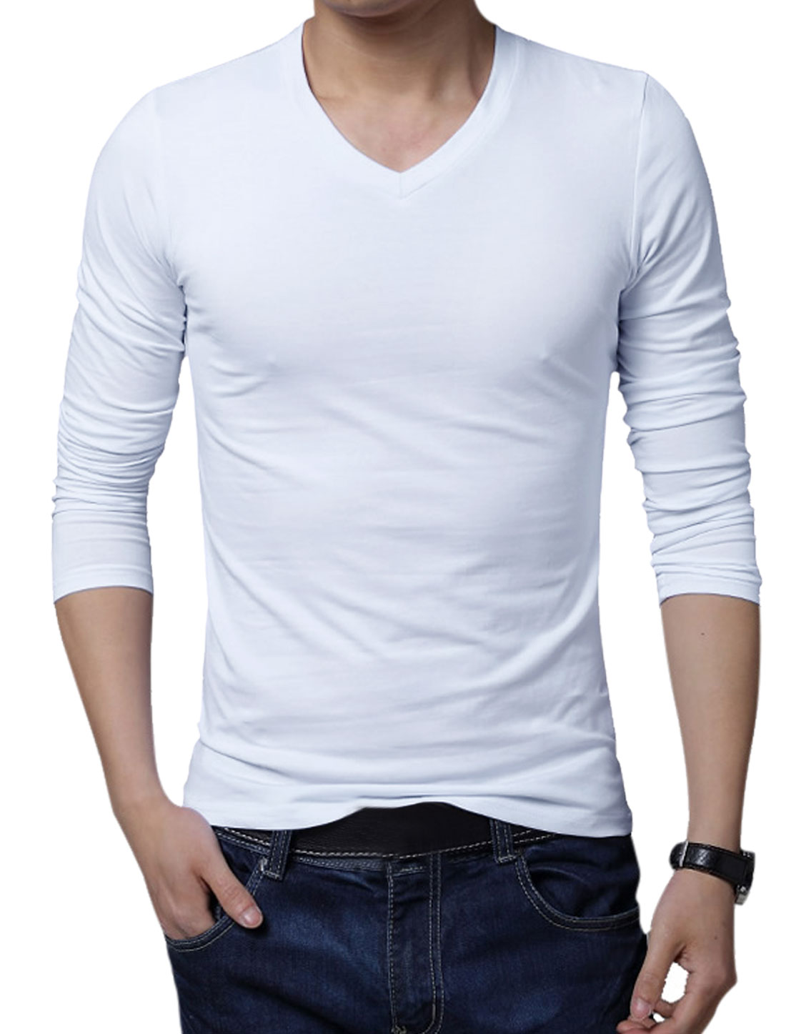Men V Neck Pullover Long Sleeve Slim Fit Solid Color Tee White XL