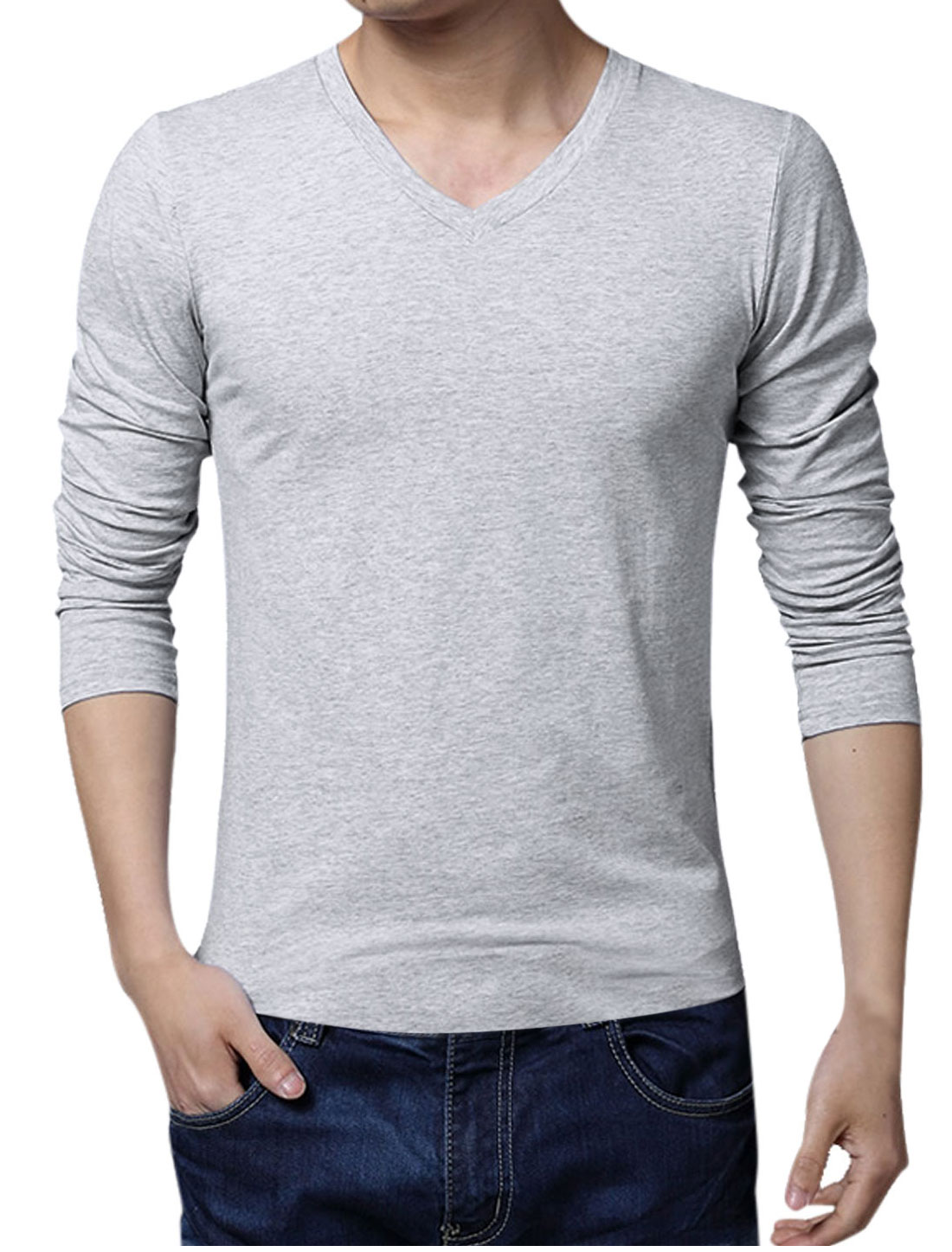 Men V Neck Pullover Long Sleeve Slim Fit Tee Light Gray XL