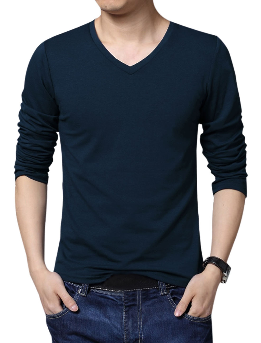 Men Pure Pattern V Neck Long Sleeve Slim Fit Tee Navy Blue XL
