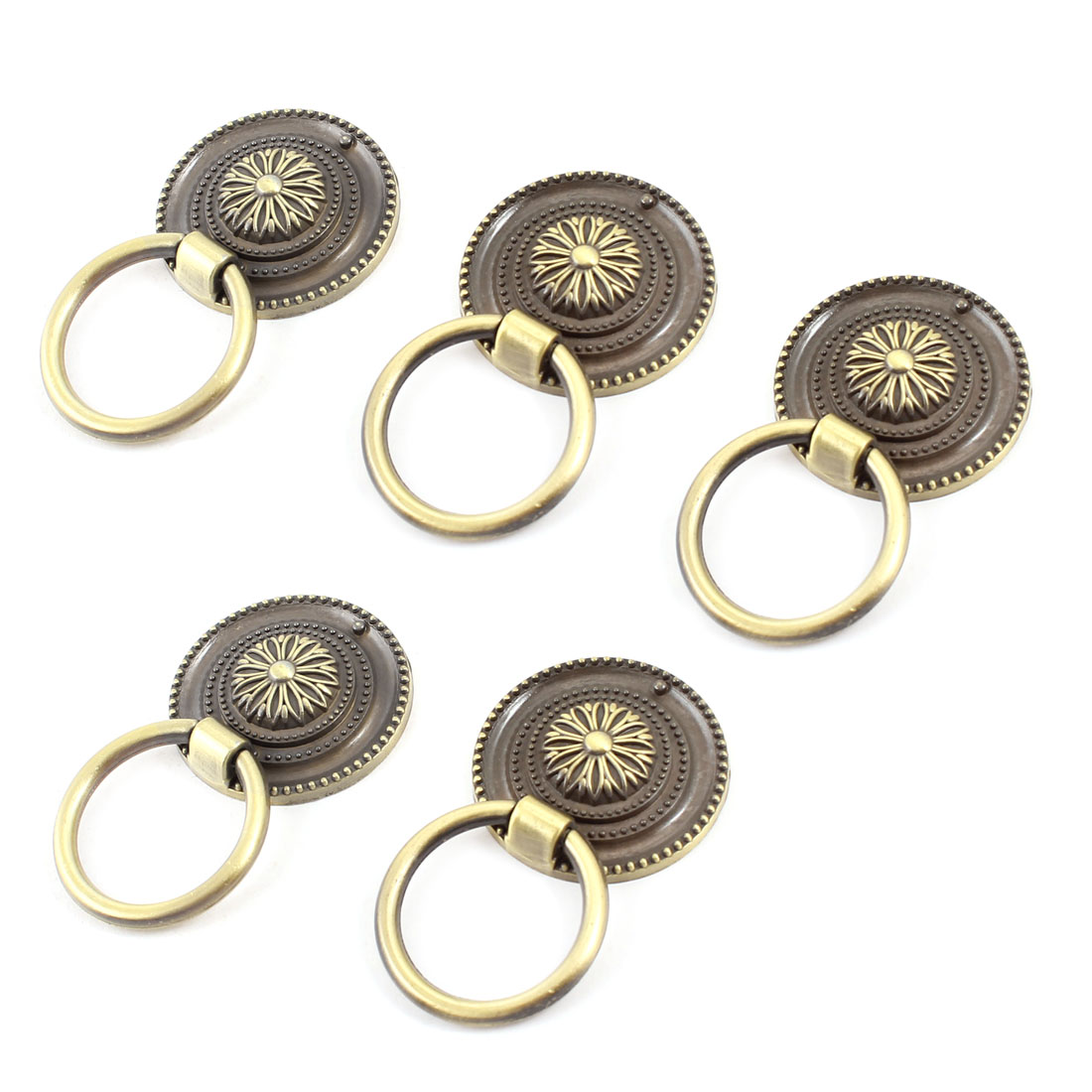 "5PCS Bronze Tone Flower Pattern Metal Ring Furniture Door Pull Handle Grip 1.7"" Dia"