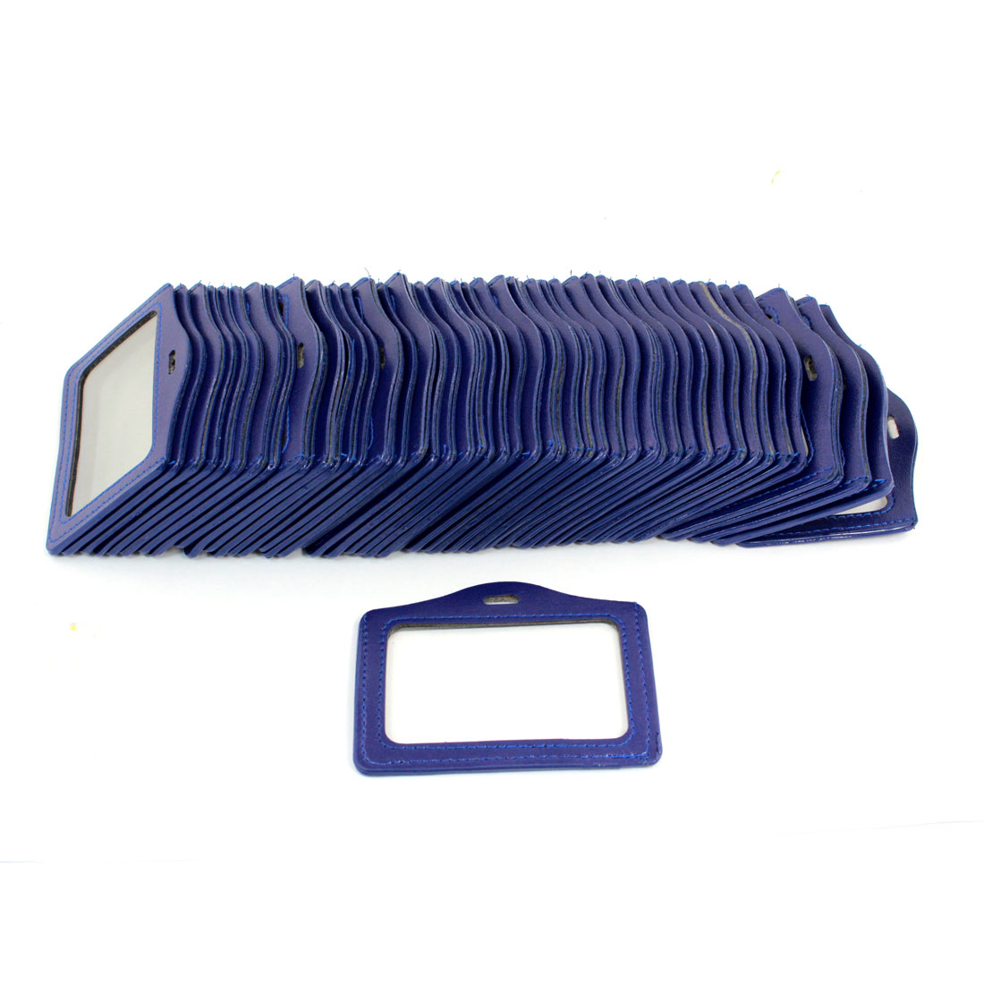 50 Pcs Rectangular Faux Leather Business Office Bank Worker ID Badge Card Holder Blue