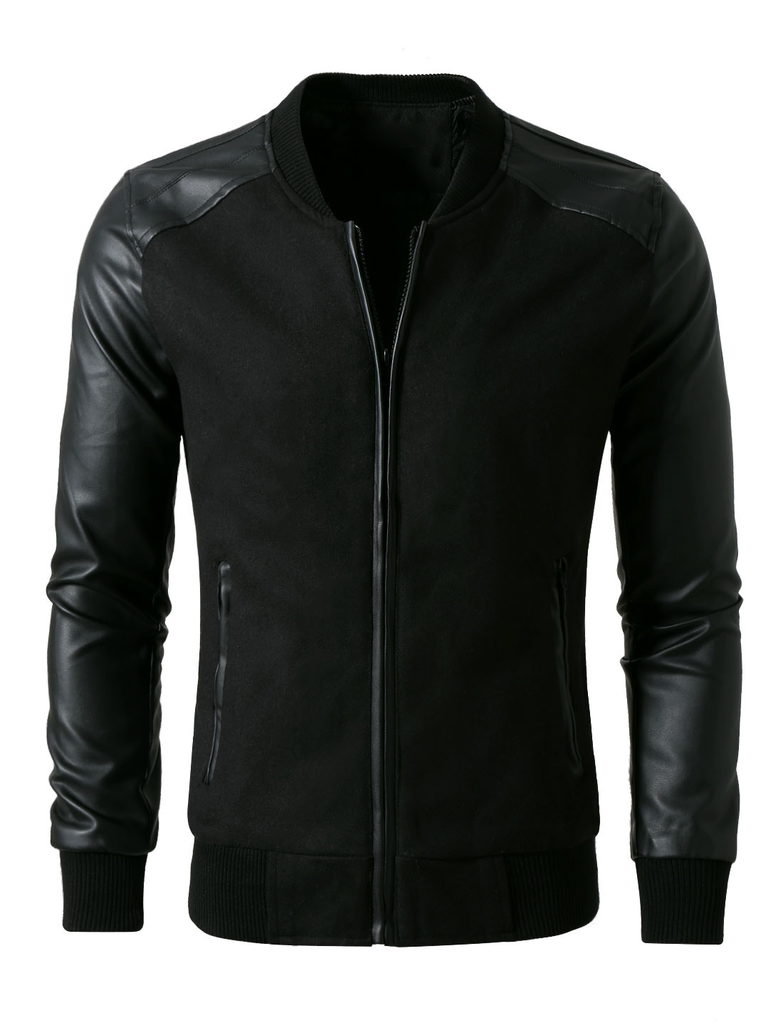 Men Fashion Rib Knit Collar Long Sleeve Leather Splice Jacket S