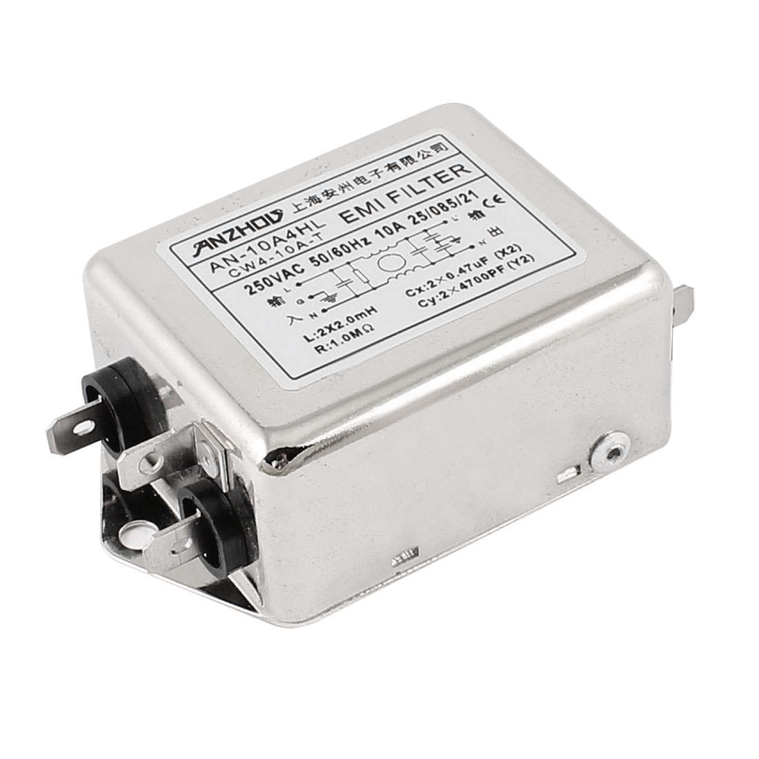 AN-10A4HL AC 250V 10A Single Phase Noise Suppressor Power Line EMI Filter