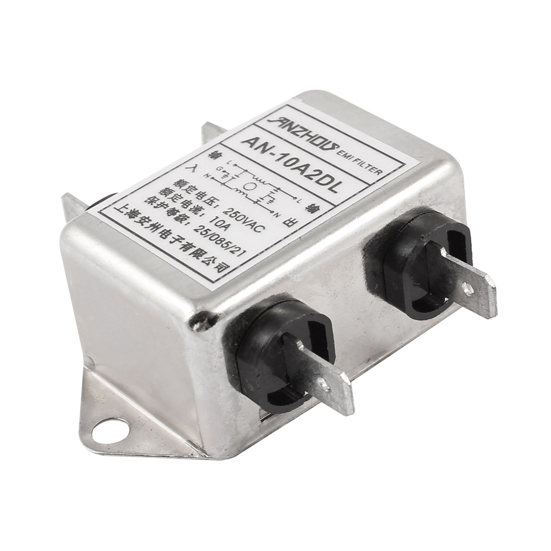 AN-10A2DL AC 250V 10A 5-Pin Soldering Single Phase Noise Suppressor General Purpose Power EMI Filter