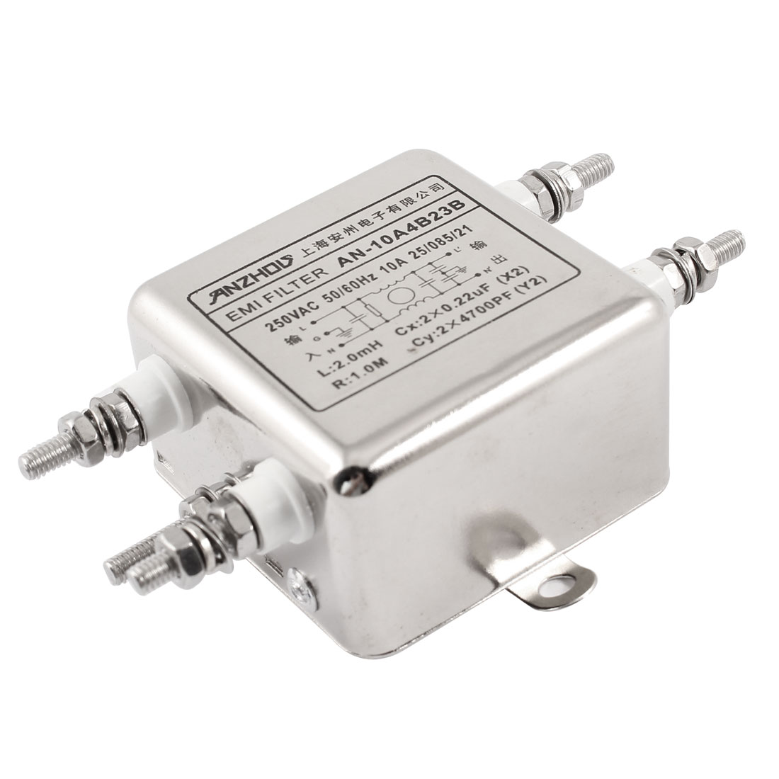 AN-10A4B23B AC 250V 10A One Phase Metal Noise Suppressor EMI Filter