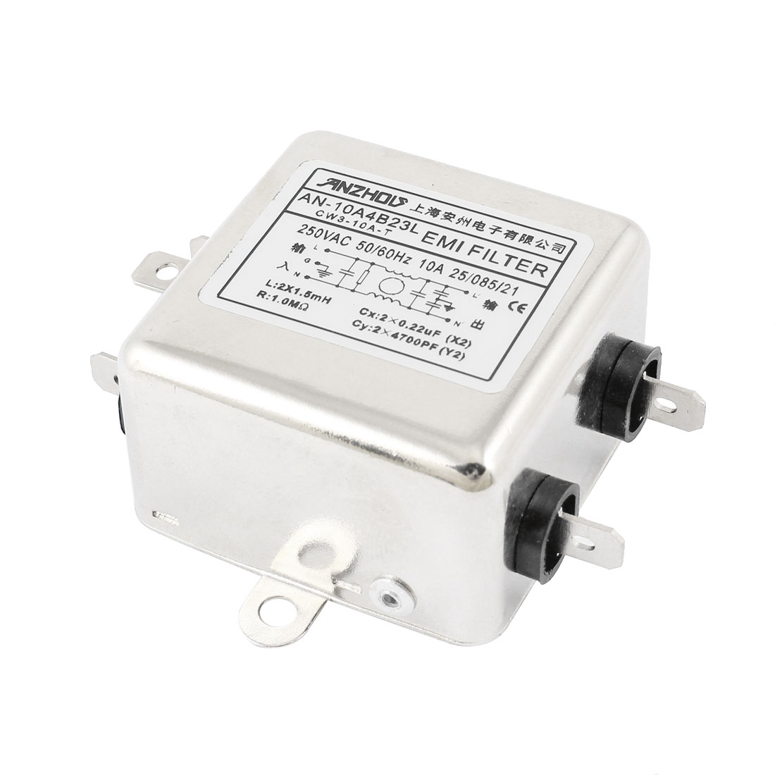 AN-10A4B23L AC 250V 10A Single Phase Noise Suppressor Power Line EMI Filter