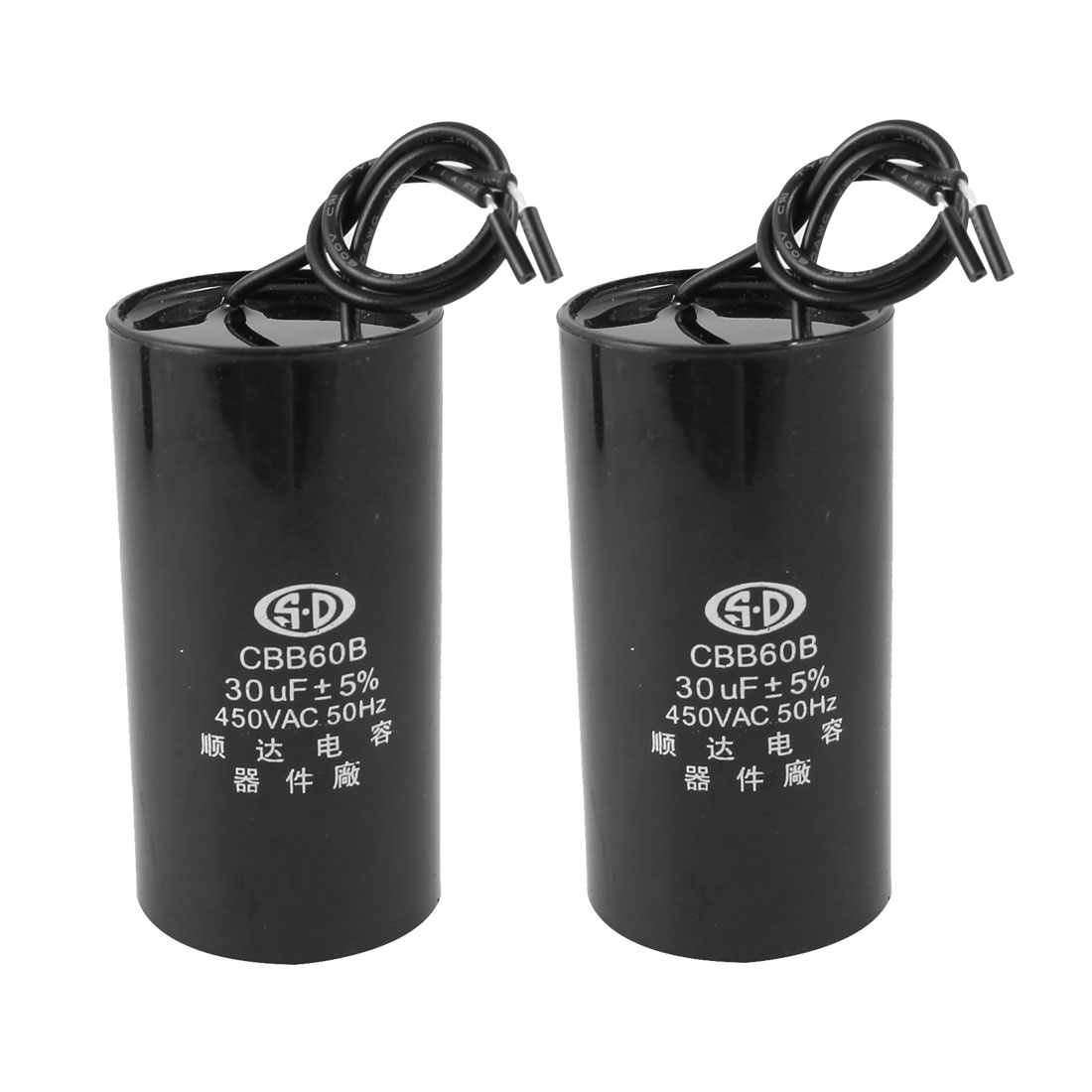 AC 450V Cylinder 30uF 2 Wired Motor Run Capacitor CBB60B Black 2pcs