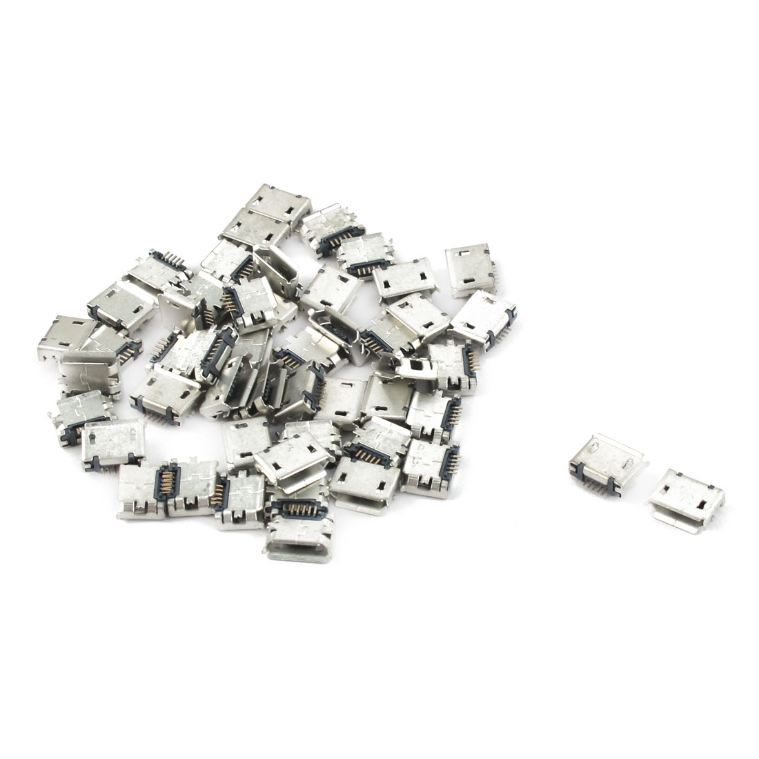 Mobile Phone PCB SMT Micro USB Type B 5Pin Female Socket Adapter Connector 50 Pcs