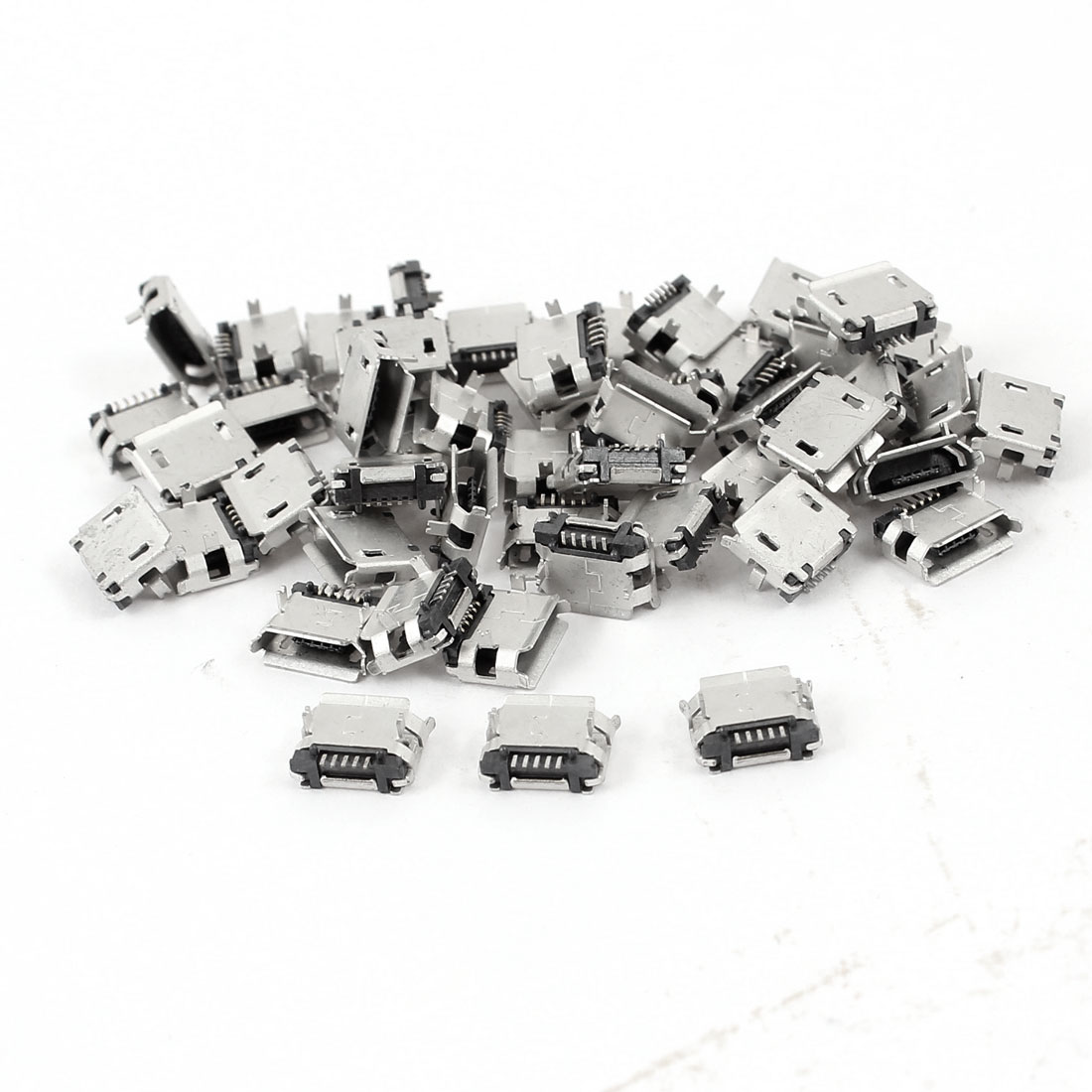 50 Pcs PCB SMT Micro USB Type B 5Pin Female Socket Adapter Connector