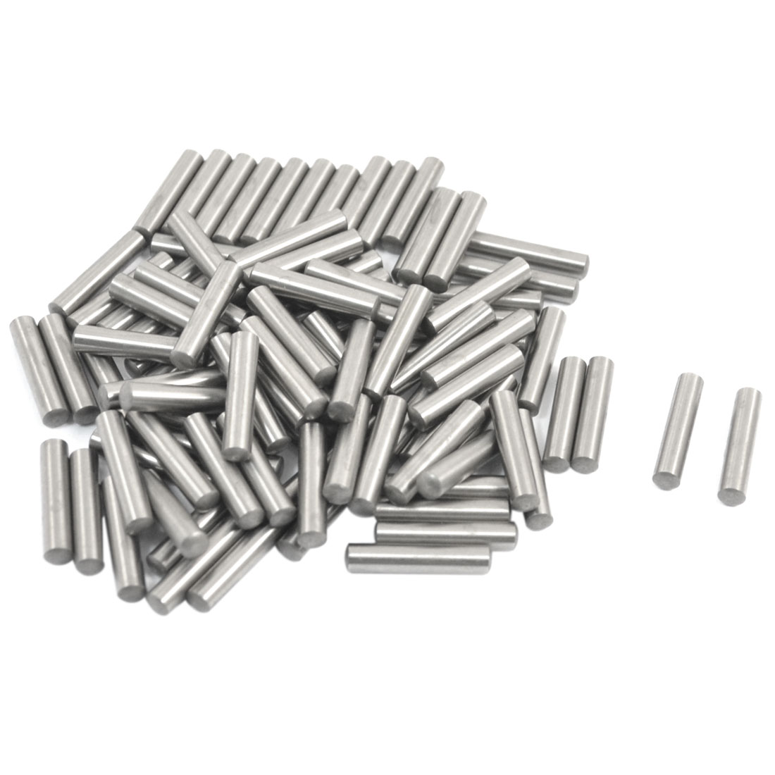 100 Pcs Stainless Steel 3.17mm x 15.8mm Parallel Dowel Pins Fasten Elements Silver Tone