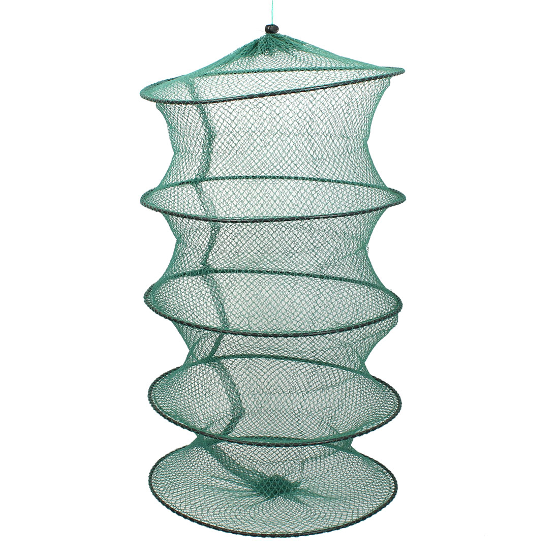 Crab Crawfish Shrimp Fish Cage 4 Sections Foldable Fishing Keep Net Green