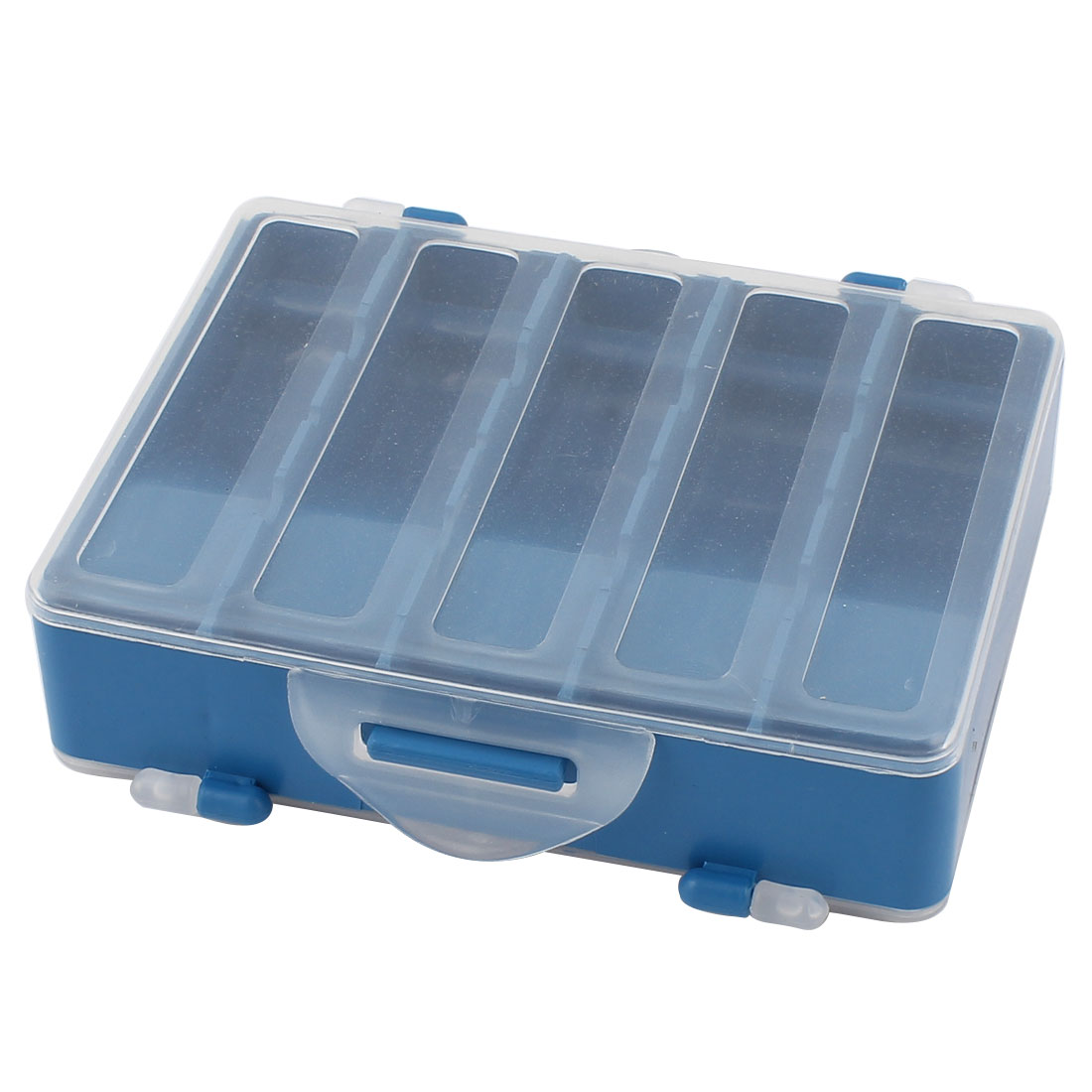 Clear Blue Plastic Dual Sides 10 Compartments Fishing Fish Lure Storage Box Case