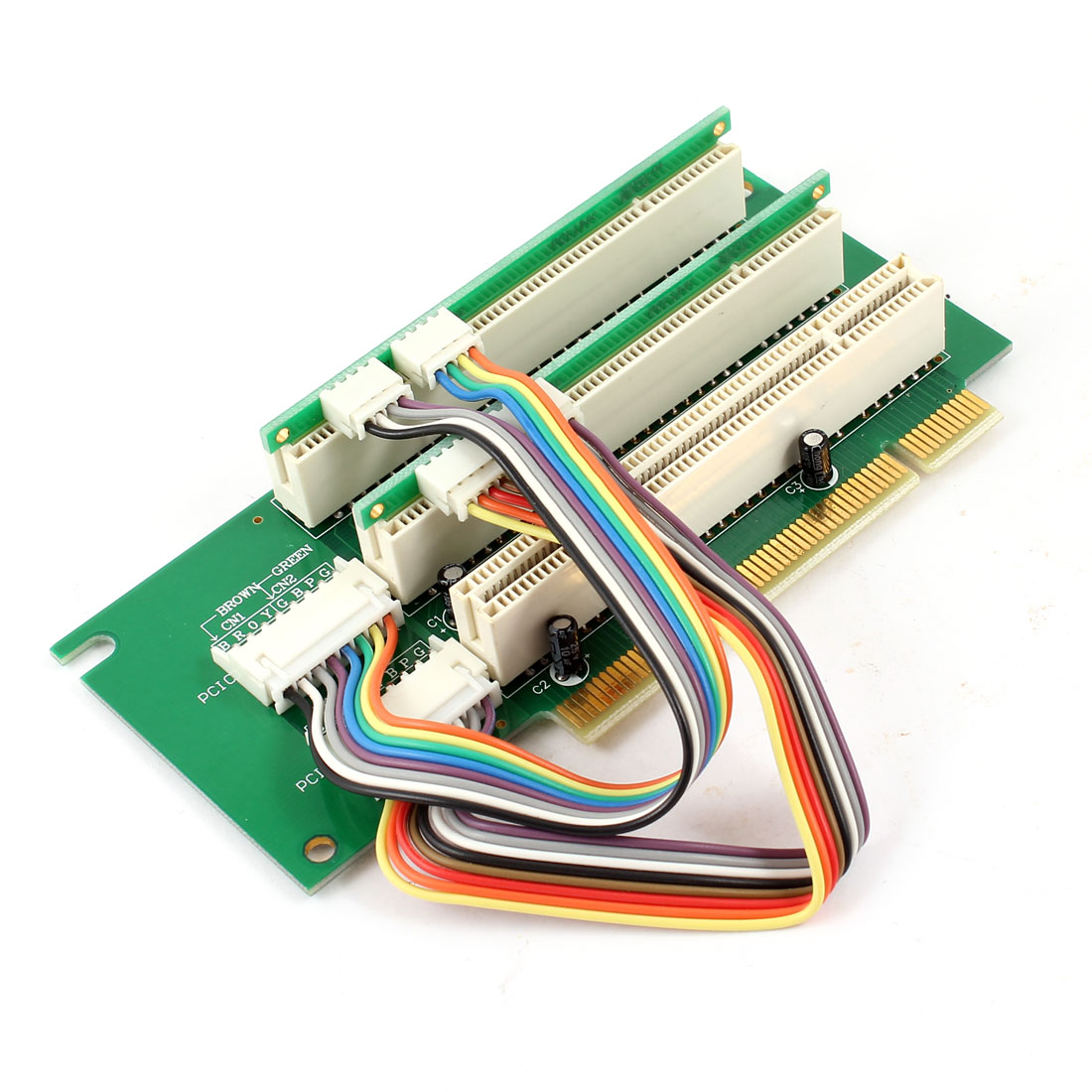 Desktop 3 Slot Right Angel PCI Riser Extender Expansion Adapter Card 1U 2U
