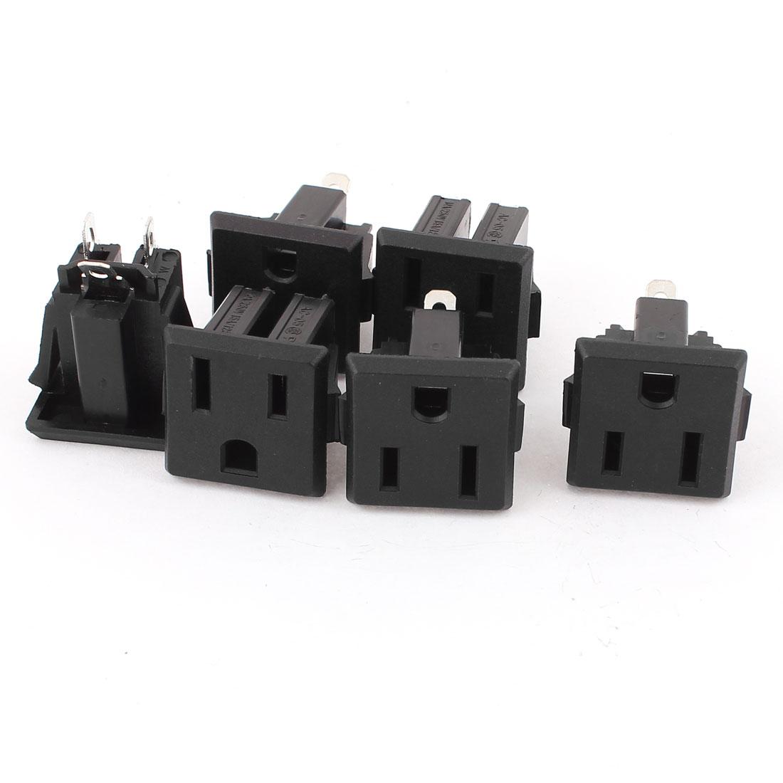 6 Pcs AC 110V-250V 15A Panel Mount Power Socket Connector Black for US 2Pin Plug