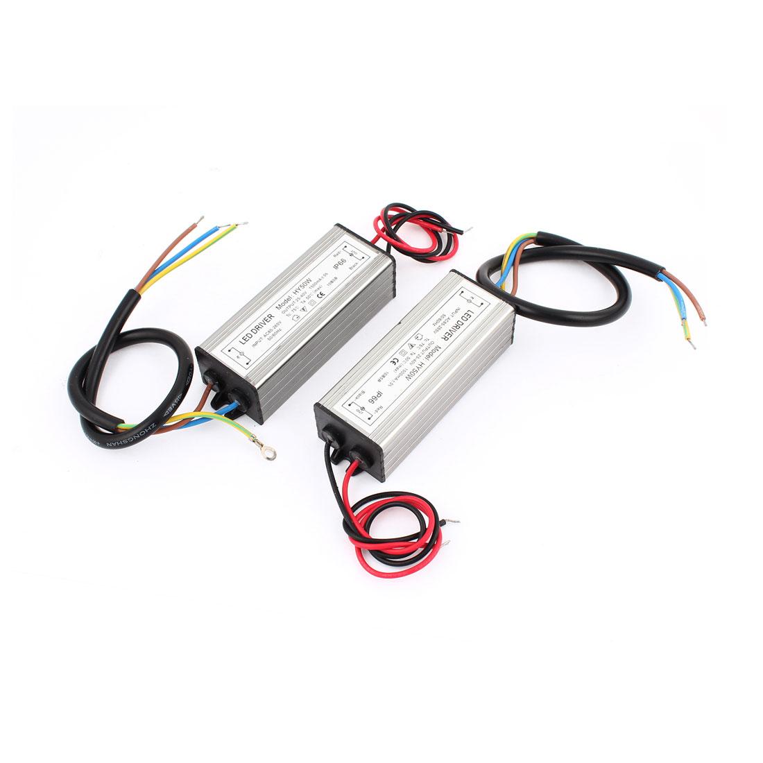 2 Pcs AC 85-265V DC 25-40V 1500mA 50W Waterproof Power Supply for LED Lighting