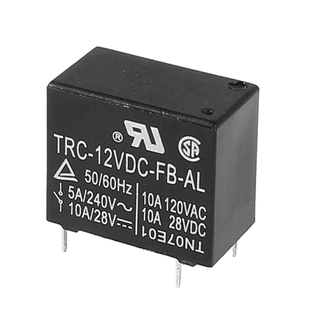 Coil DC 12V 4 Soldering Pin SPST General Purpose Power Relay Black TRC-12VDC-FB-AL