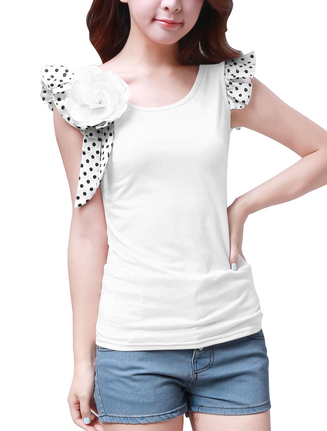 Women Cap Sleeve Flower Brooch Decor Summer Fit Blouse White 1X