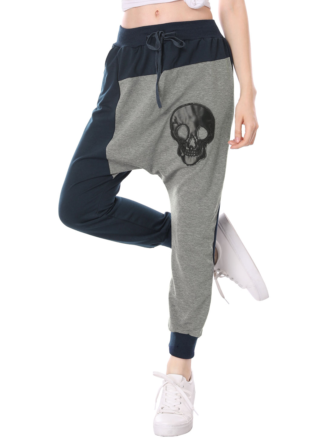 Lady PU Skull Design Color Block Harem Pants Dark Blue Gray M