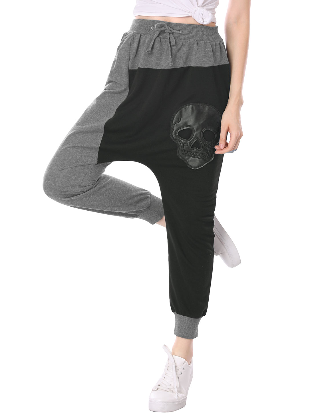 Lady Mid Rise PU Skull Design Harem Pants Dark Gray Black XS