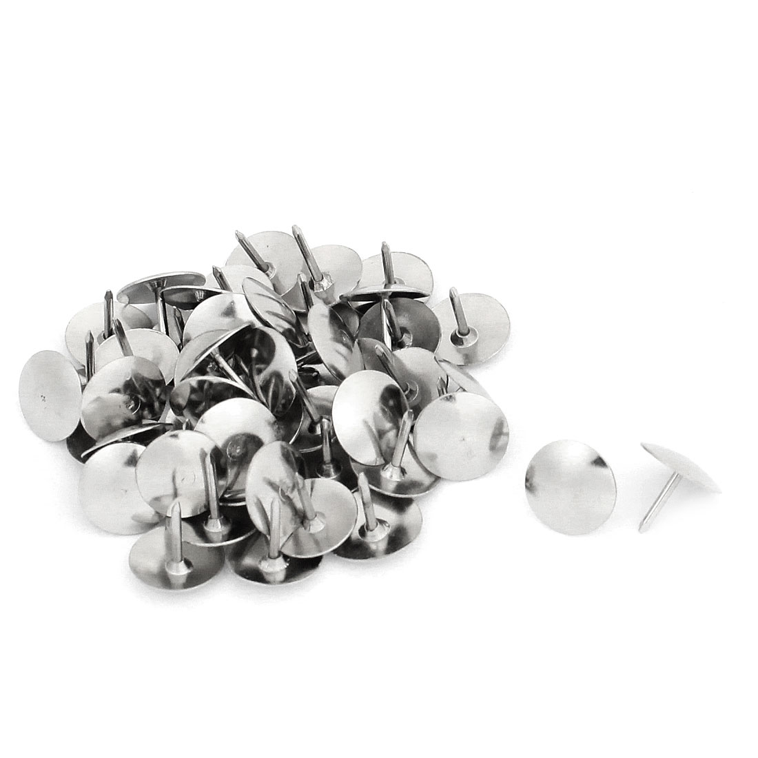 50 Pcs Office Silver Tone Metal Message Board Thumbtacks Drawing Map Push Pins