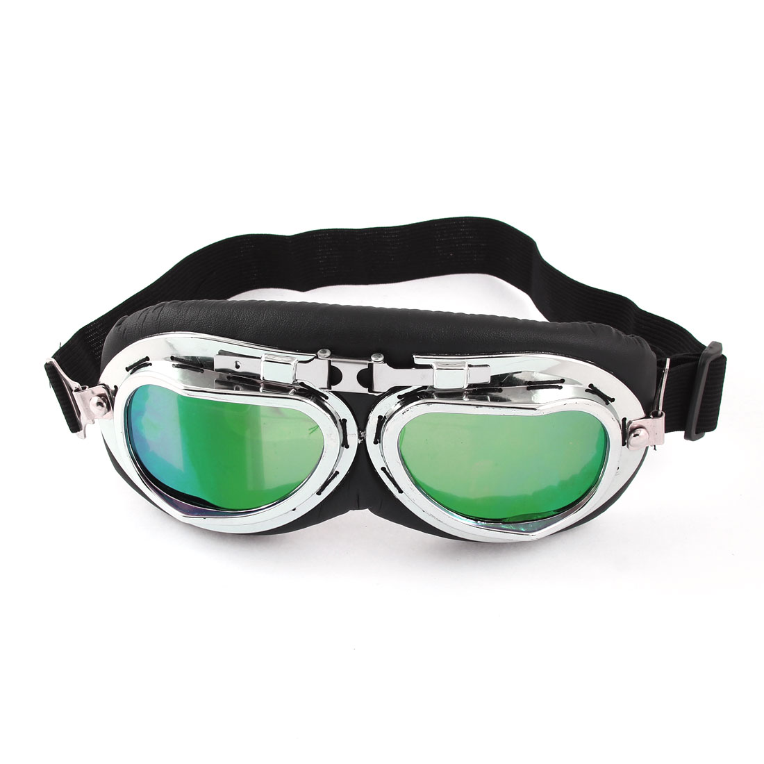Unisex Green Lens Black Full Frame Motorcycle Protective Goggles Glasses