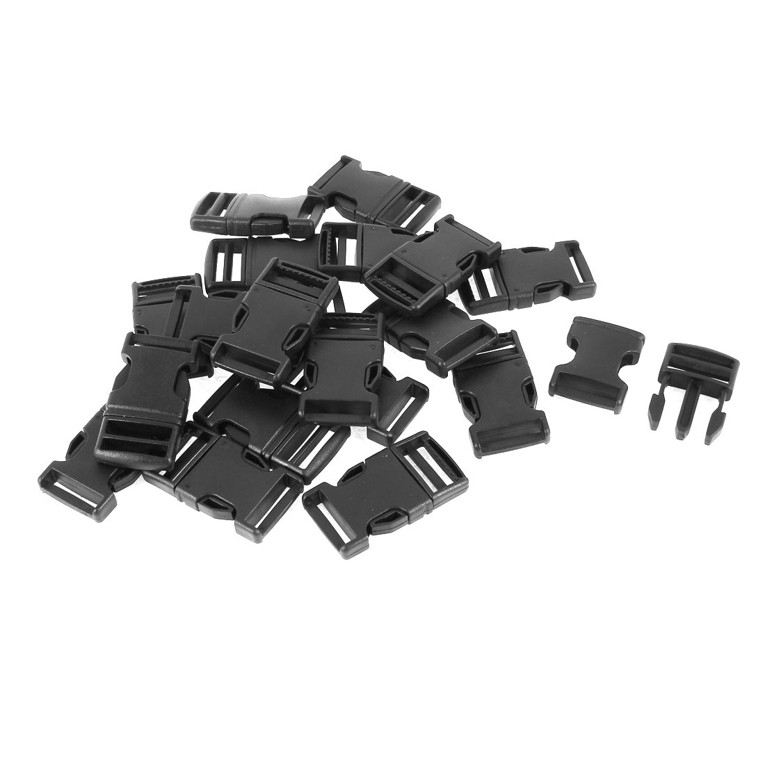 20 Pcs Black Plastic Packbag Spare Part Side Quick Release Buckles