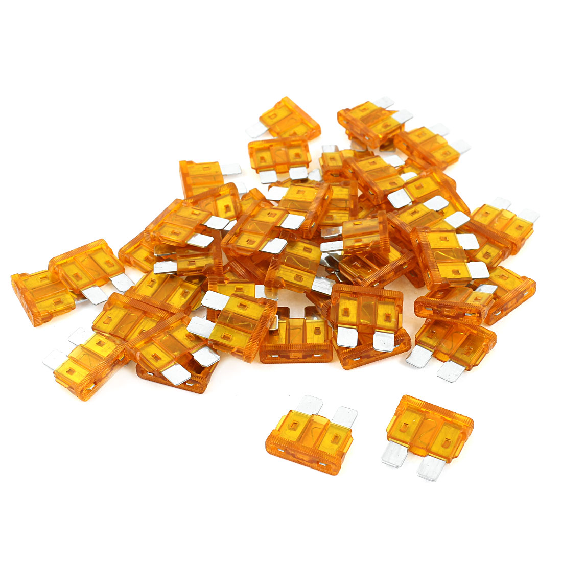 50 Pcs Auto Car Clear Plastic Coated Mini Blade Fuses Orange 5A