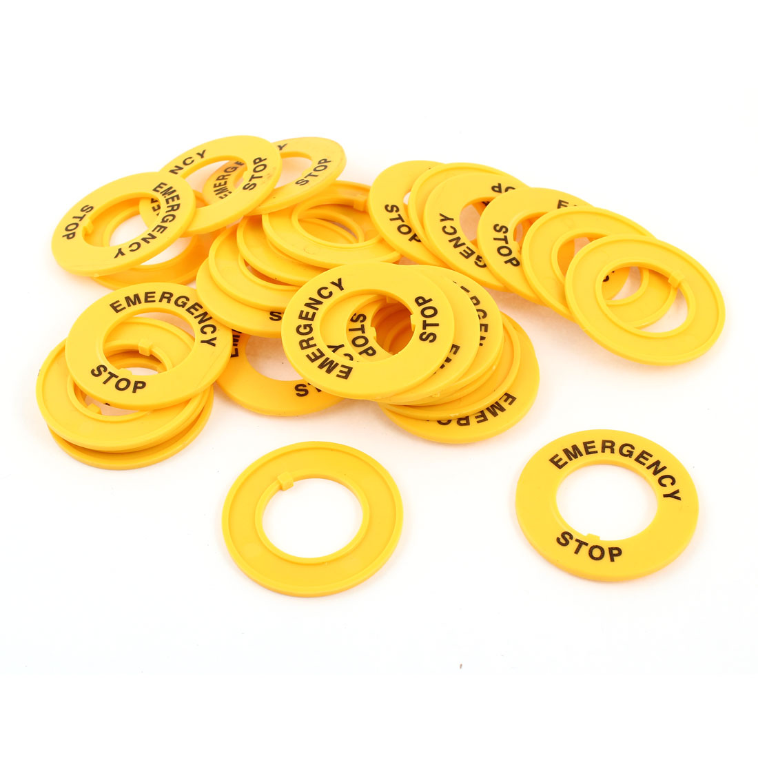 30 Pcs Yellow Emergency Stop Pattern 22mm Cutout Buttonswitch Protective Shell Case