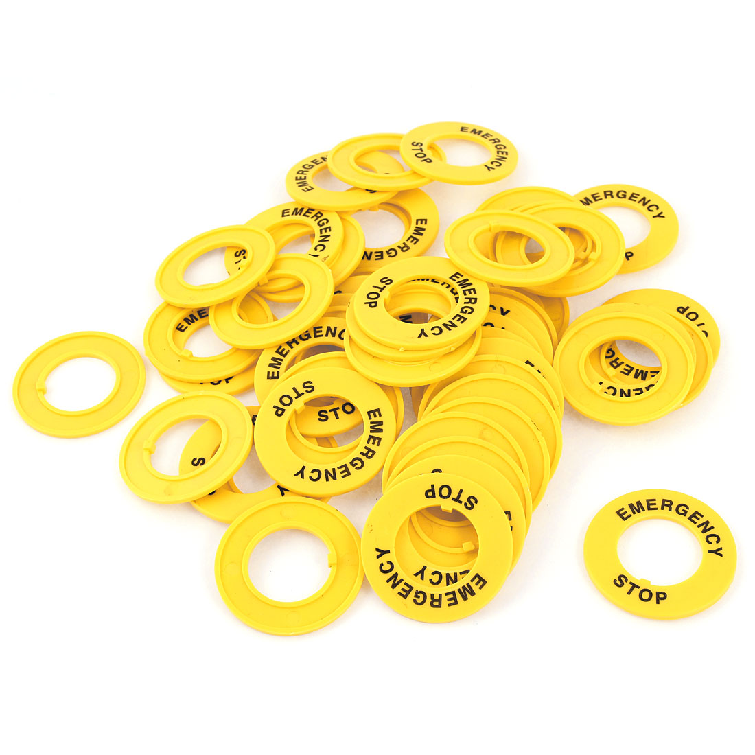 50 Pcs 22mm Dia Cutout Yellow Plastic Round Push Switch Button Protective Case