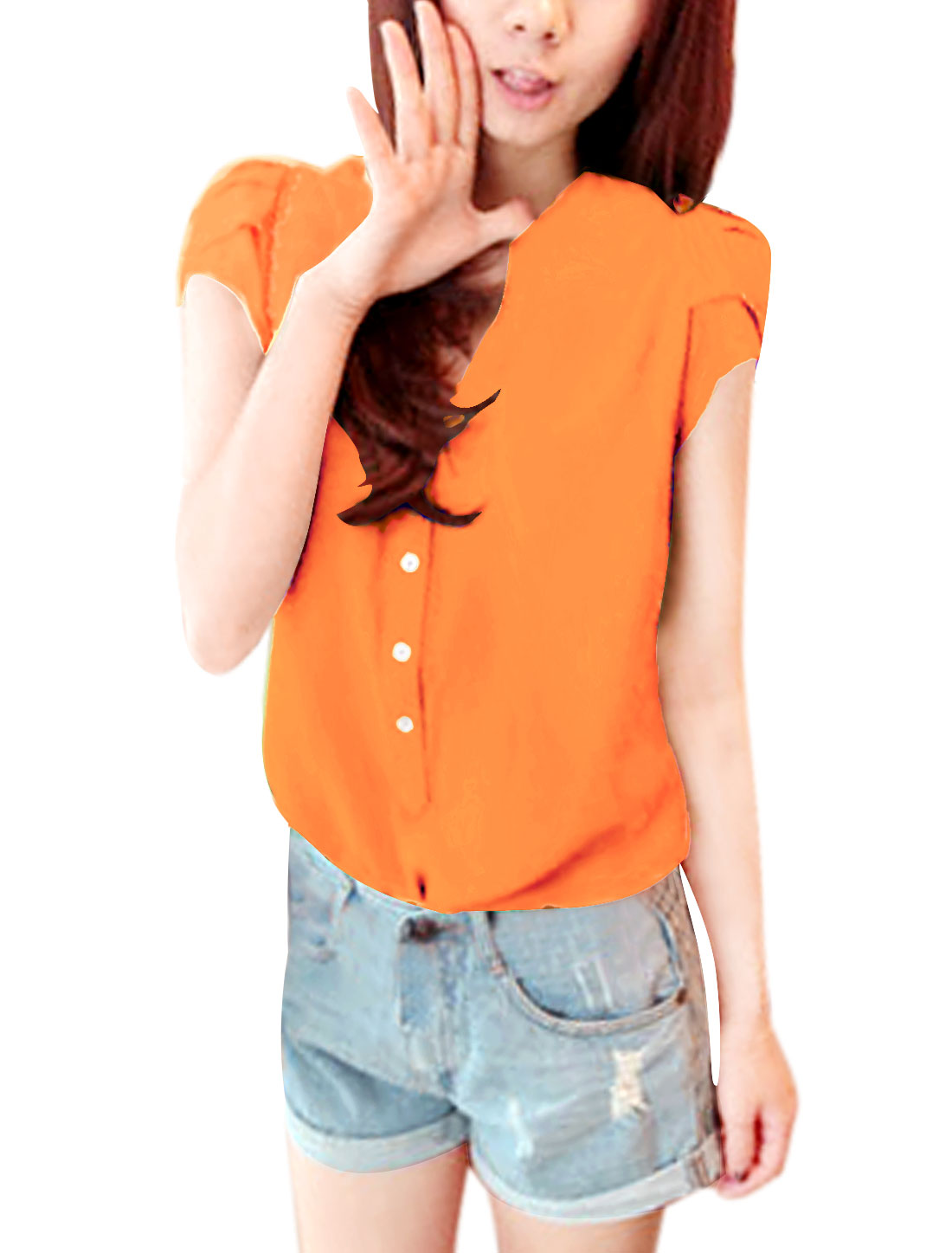 Women Stand Collar Cap Sleeves Half Placket Blouse Orange L
