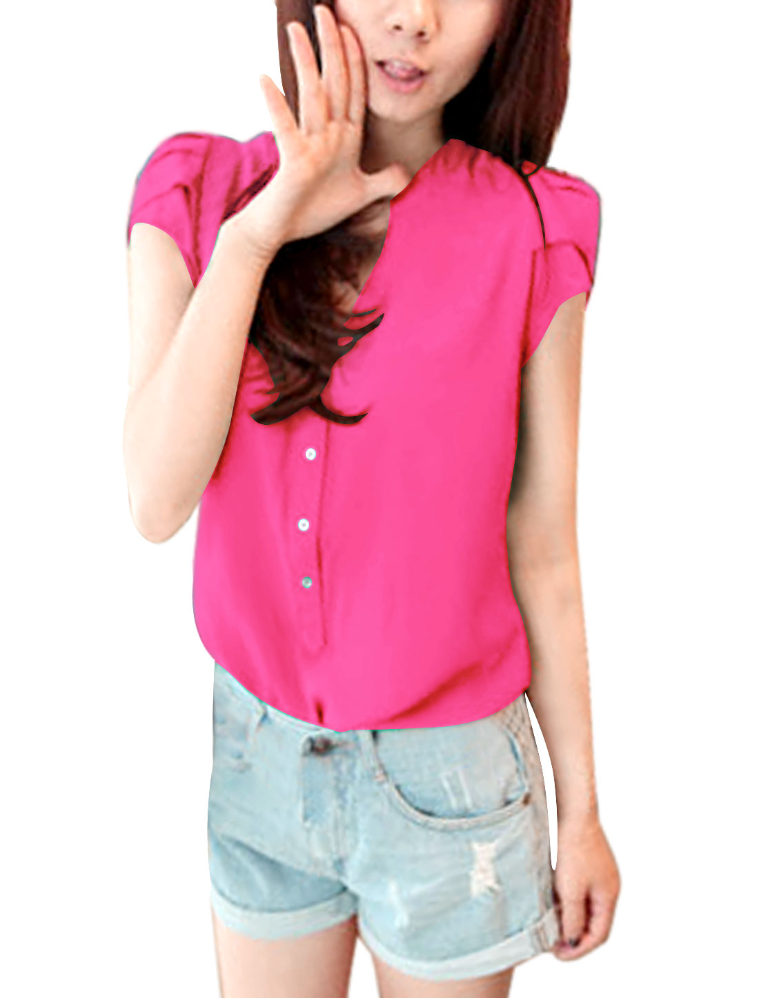 Ladies Gathered Detail Button Closure Soft Regular Fit Blouse Fuchsia L