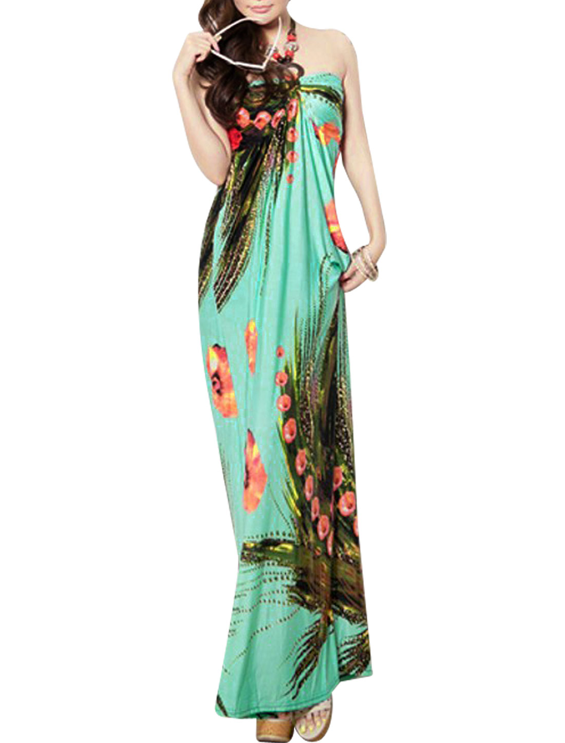 Women Padded Bust Vacation Bohemian Self Tie Halter Dress Teal XS