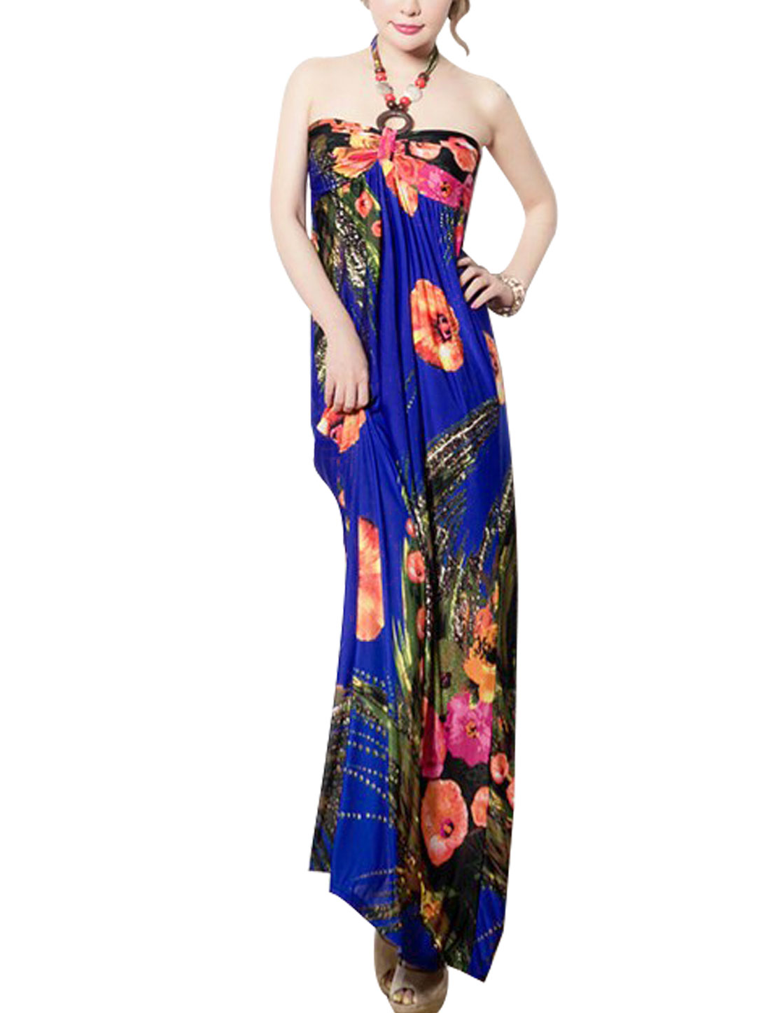 Women Floral Pattern Full Length Beach Self Tie Halter Dress Royal Blue XS