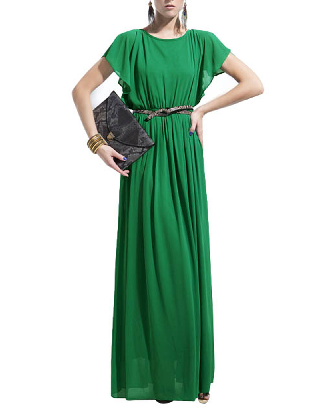 Woman Flounce Sleeve Split Back Elegant Chiffon Long Dress Green XS