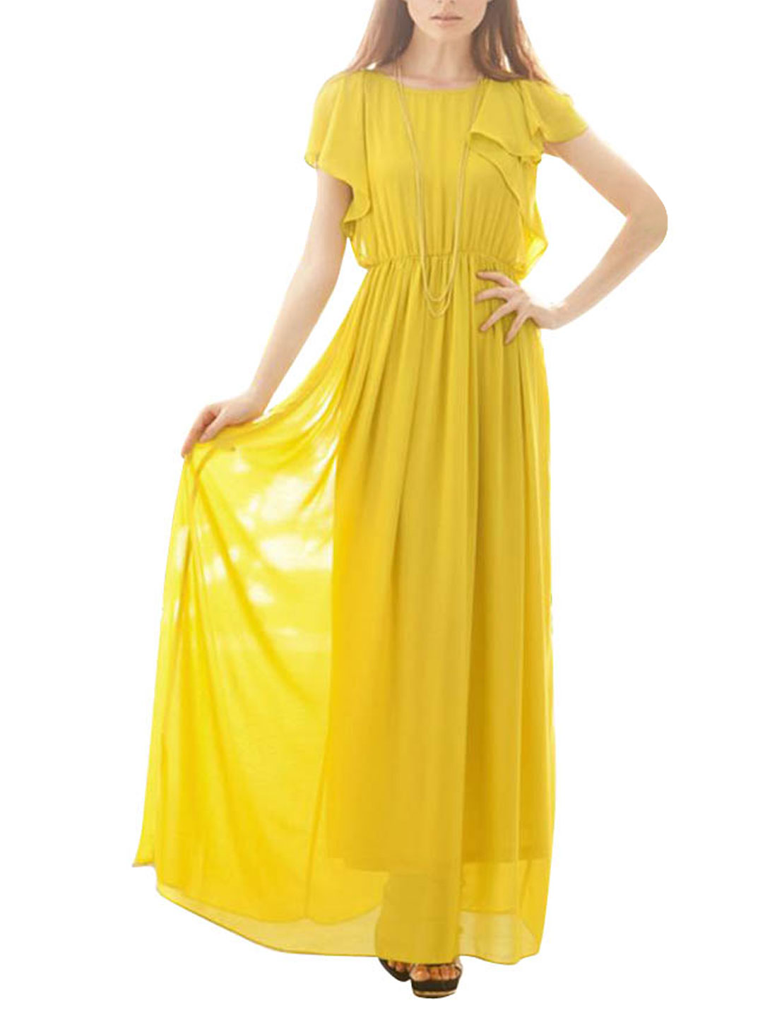Women Flounce Sleeve Button Down Split Back Chiffon Long Dress Yellow XS