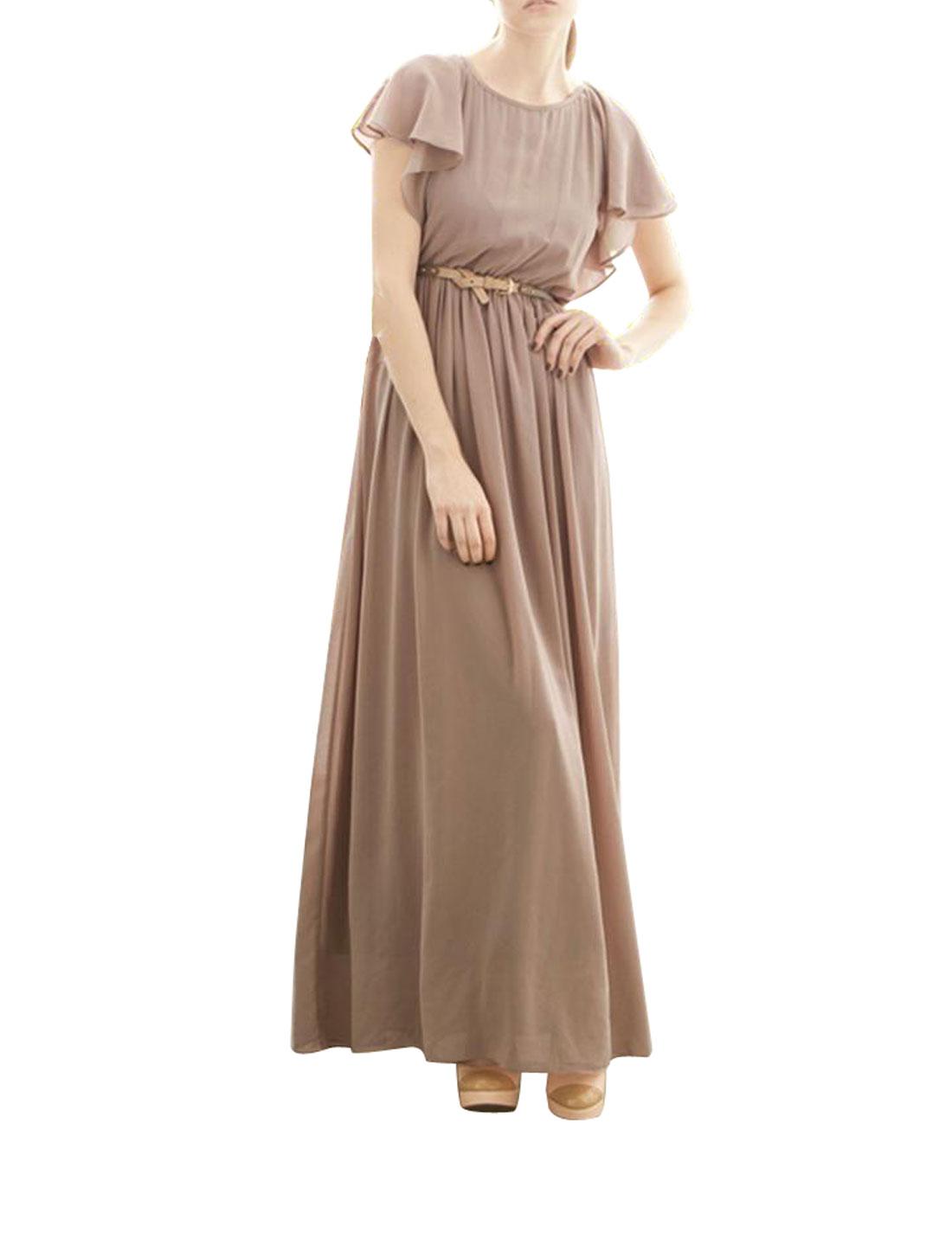 Women Flounce Sleeve Button Down Split Back Chiffon Long Dress Khaki XS