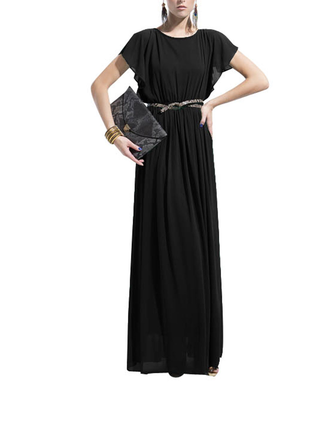 Women Flounce Sleeve Button Down Split Back Elegant Chiffon Long Dress Black XS