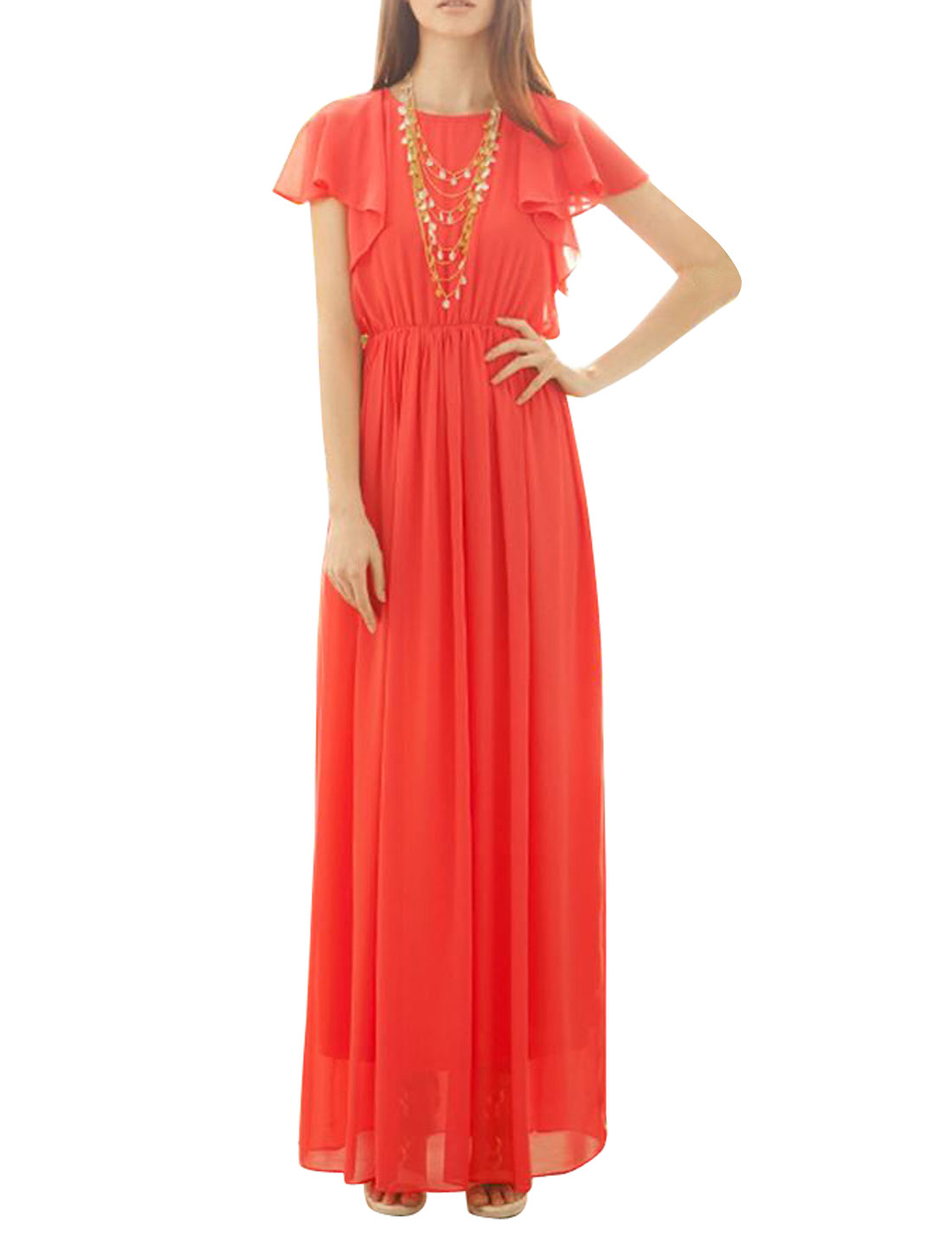 Women Flounce Sleeve Button Down Split Back Chiffon Long Dress Watermelon Red XS