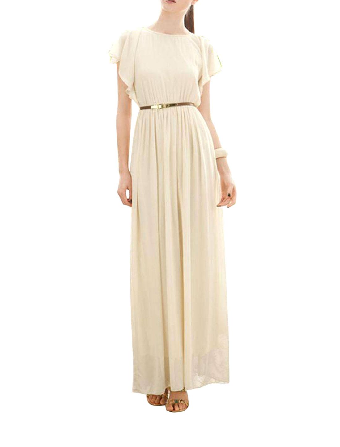 Women Flounce Sleeve Button Down Split Back Elegant Chiffon Long Dress Apricot Color XS