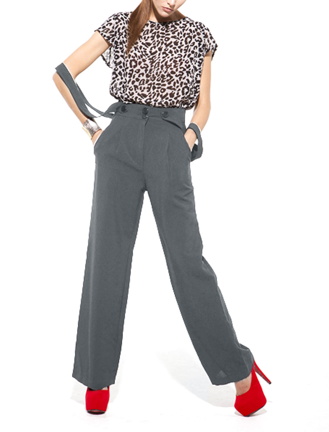 Women Concealed Zipper Side Pocket Full Length Overall Pants Dark Gray S