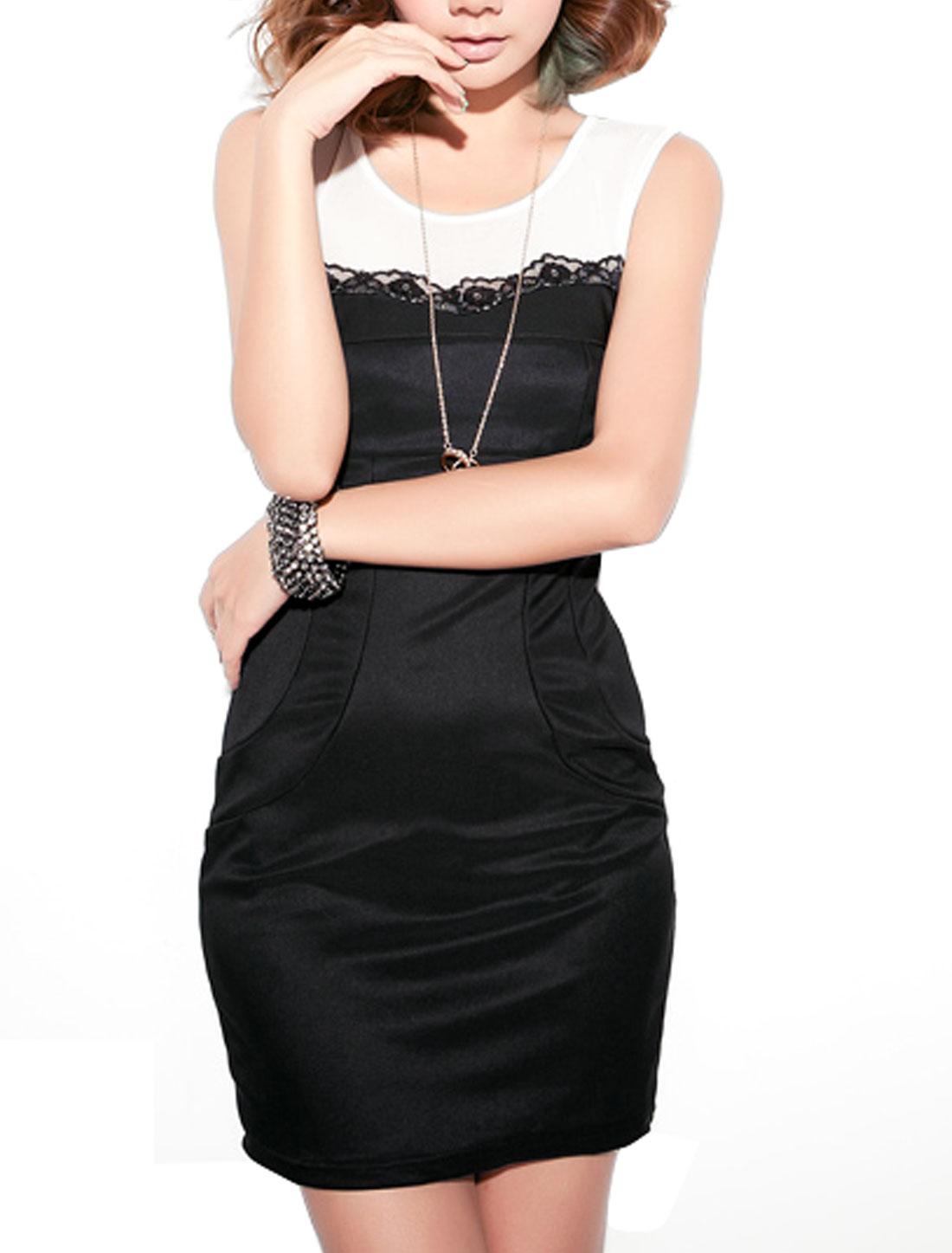 Women Meshy Spliced Close-fitting Clubwear Sexy Mini Dress Black XS