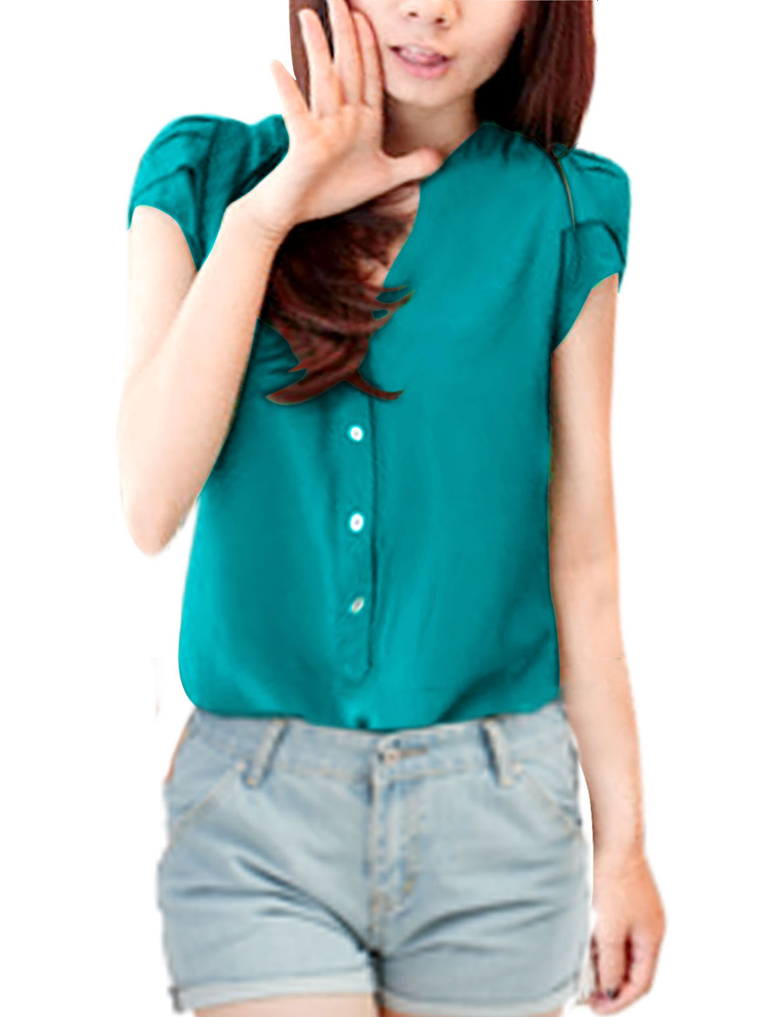 Woman 3/4 Placket Gathered Detail Newly Soft Top Shirt Green L