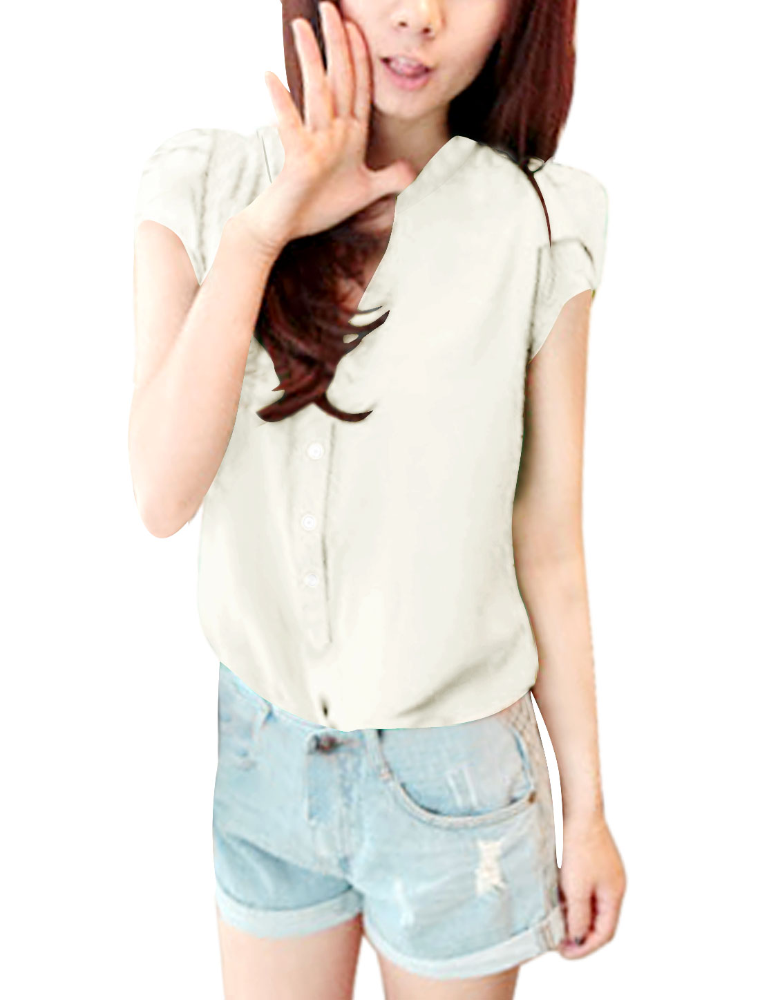Ladies Summer Short Puff Sleeve Button Closure Cozy Fit Shirt White M