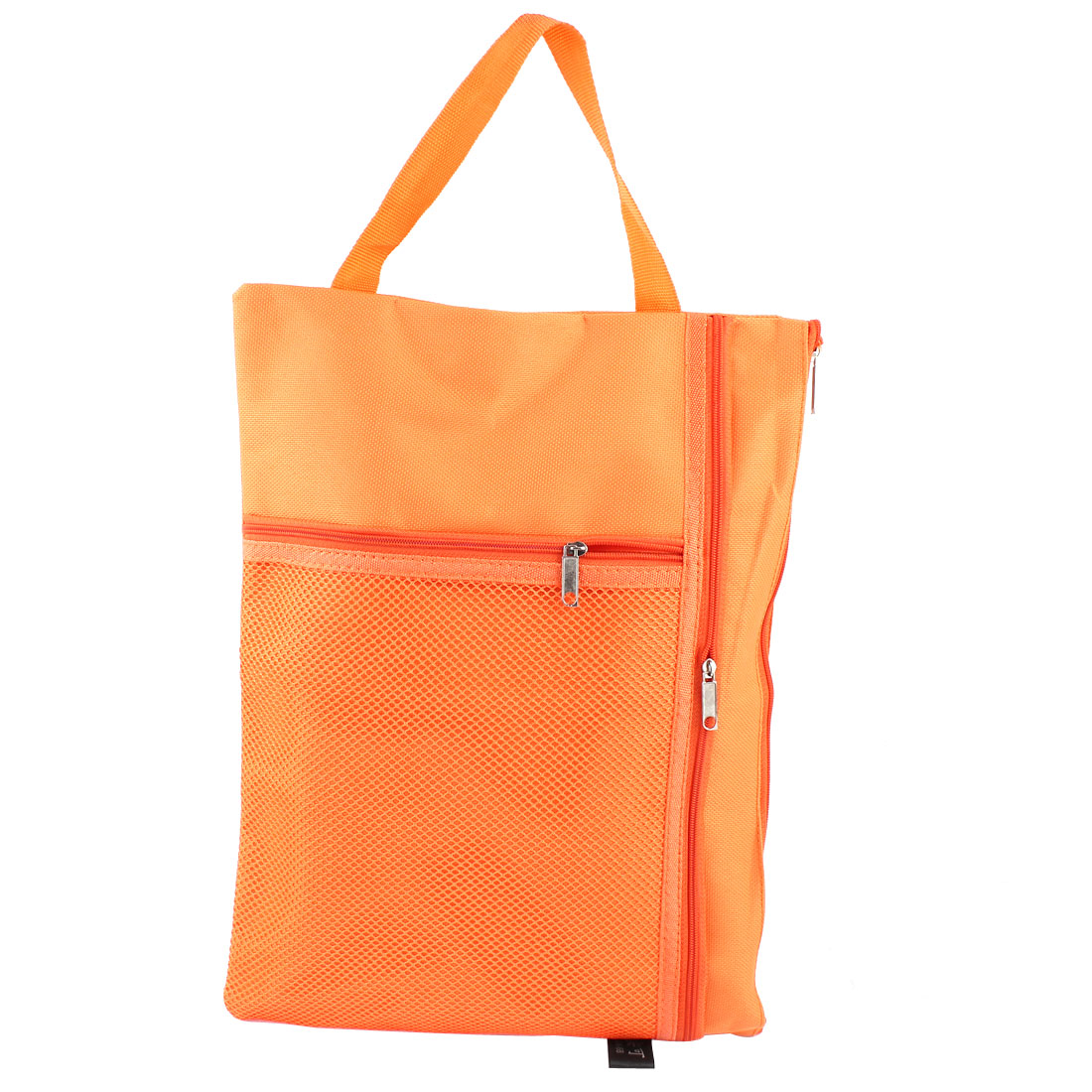 "Orange Nylon Zip Up Water Resistant A4 Paper File Pen Bag Folder 13.4"" x 10"""